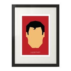 Plakat z postacią Supermana w wersji kolorowej na czerwonym tle