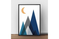 """Skandynawski plakat geometryczny na ścianę """"Góry nocą"""""""