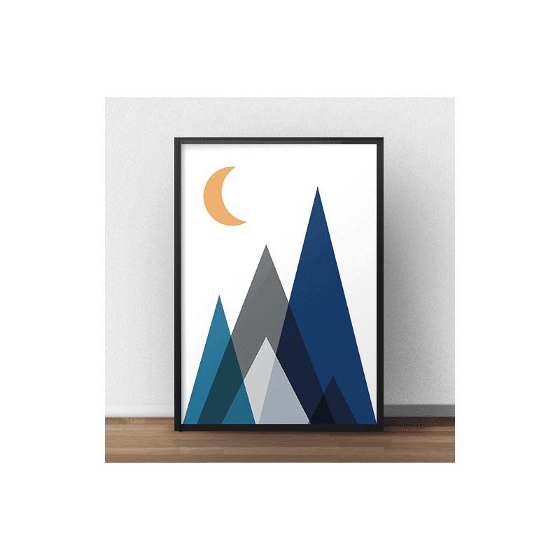 Plakat geometryczny Góry nocą