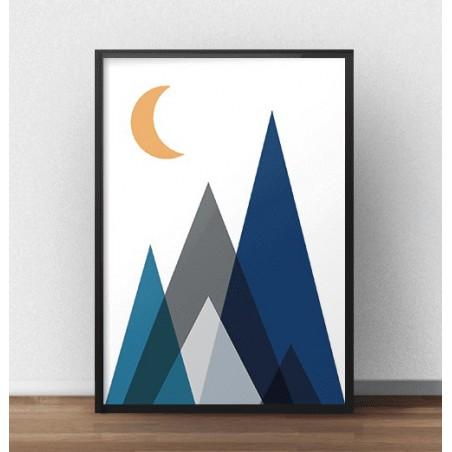 """Plakat geometryczny """"Góry nocą"""""""