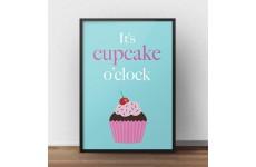 """Plakat z babeczką na niebieskim tle i napisem """"It's cupcake o'clock"""""""
