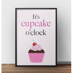 "Kolorowy plakat ""It's cupcake o'clock"""