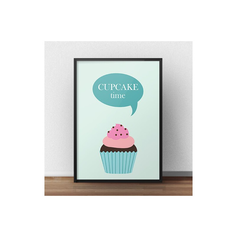 "Plakat z babeczką i napisem ""Cupcake time"""
