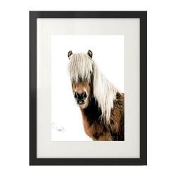 Nowoczesny plakat przedstawiający konia z jasną i długą grzywą