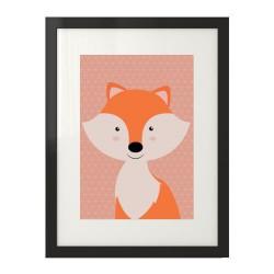 Kolorowy plakat z lisem dla dzieci do pokoju dziecięcego