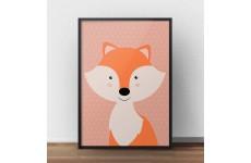 Skandynawski plakat do pokoju dziecka z pomarańczowym liskiem
