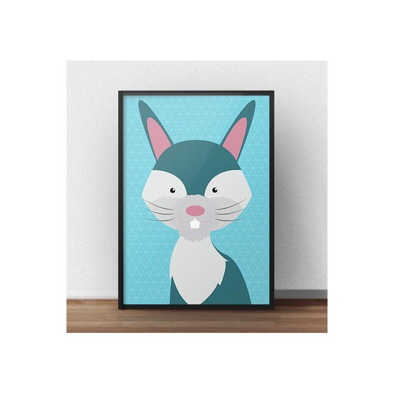 Kolorowy plakat dla dzieci przedstawiający królika