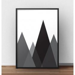 """Czarno-biały plakat geometryczny """"Czarne góry"""""""