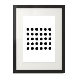 Skandynawski plakat geometryczny przedstawiający czarne kamyczki ułożone równo obok siebie w rzędach