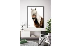 Skandynawski plakat na ścianę z koniem zaprezentowany w nowoczesnym mieszkaniu