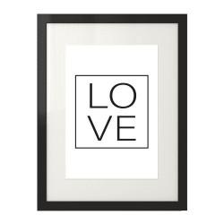 """Minimalistyczny plakat na ścianę z napisem """"LOVE"""" w ramce"""