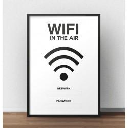 """Plakat na ścianę """"Wifi in the air"""" z nazwą Twojej domowej sieci oraz hasłem dla gości"""