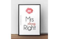 """Darmowy plakat do pobrania z napisem """"Mrs always right"""""""