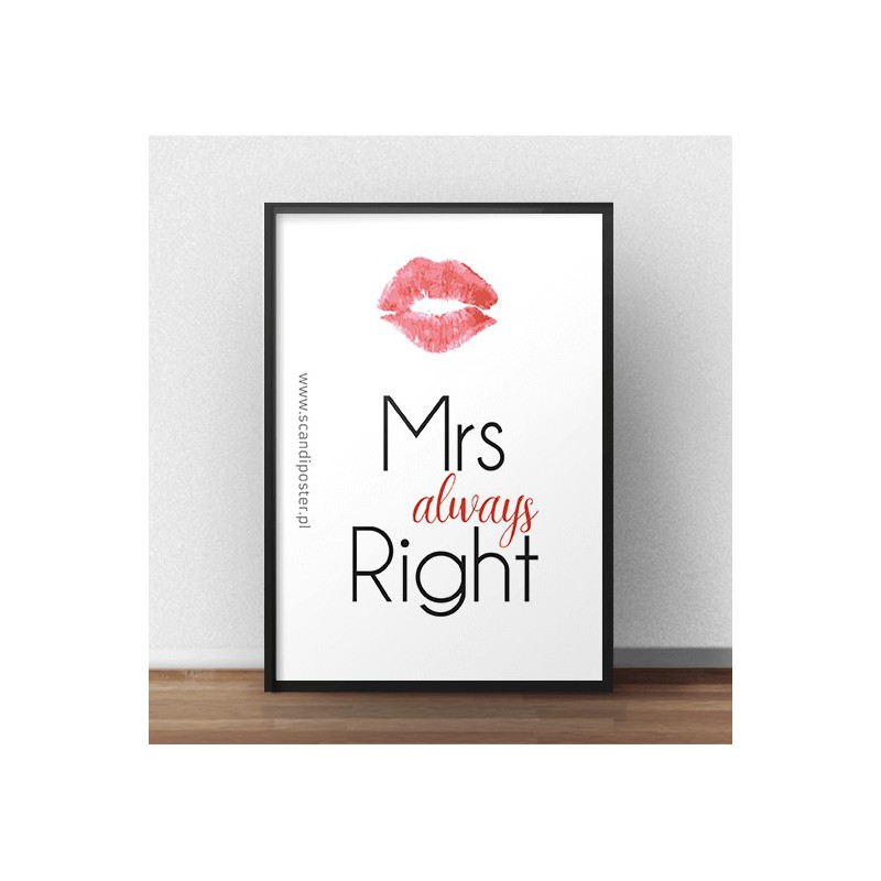"Darmowy plakat do pobrania z napisem ""Mrs always right"""