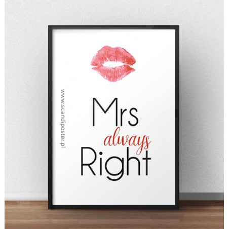 "Darmowy plakat z napisem ""Mrs always right"""