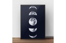 """Granatowy plakat """"Fazy księżyca"""" do powieszenia na ścianie"""
