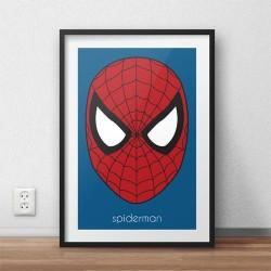 Kolorowy plakat z głową Spidermana oprawiony w cienką ramę