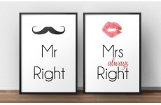 """Zestaw 2 plakatów """"Mr Right"""" & """"Mrs always Right"""""""
