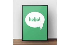 """Darmowy zielony plakat """"Hello"""" do samodzielnego wydruku"""