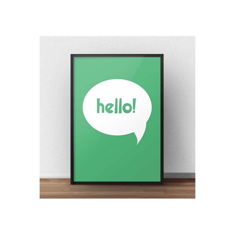 Free green poster Hello