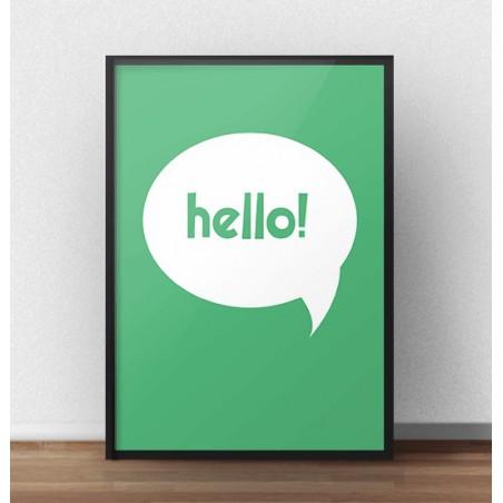 "Darmowy zielony plakat ""Hello"""