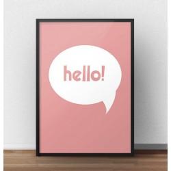 """Darmowy plakat z napisem """"Hello"""" w chmurce w wersji koralowy róż"""