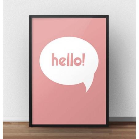 """Darmowy koralowy plakat """"Hello"""""""