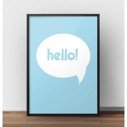 """Darmowy plakat z napisem """"Hello"""" w białej chmurce do pokoju chłopca"""