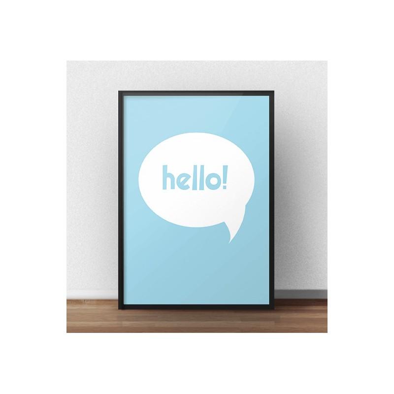 Darmowy niebieski plakat Hello