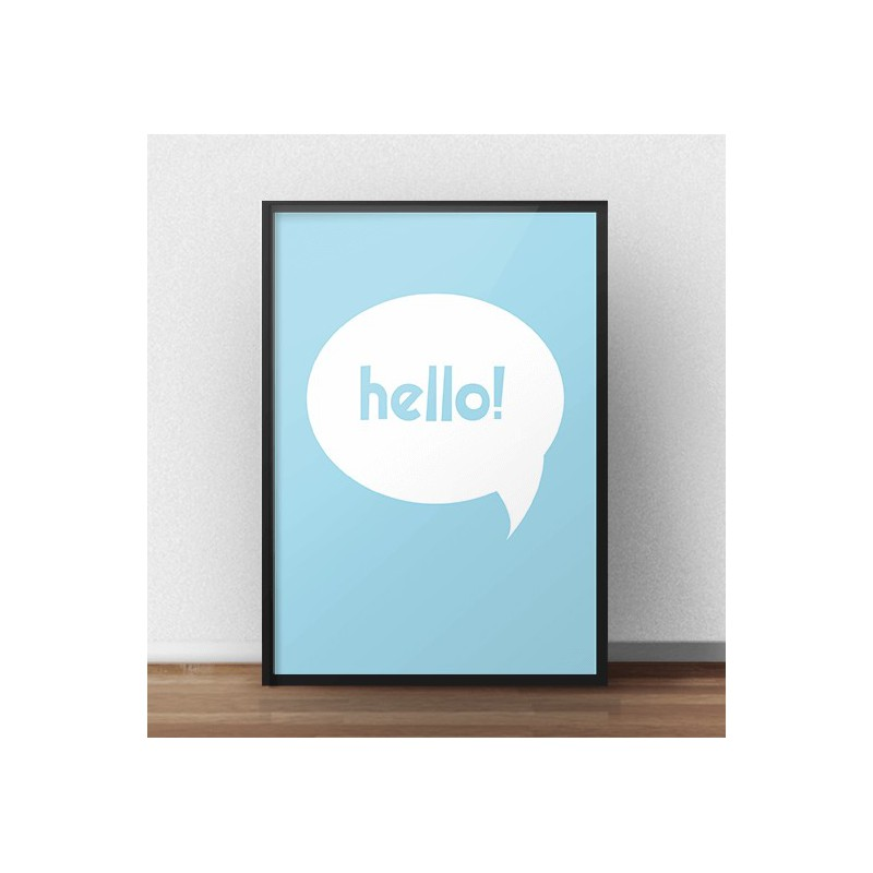 Free blue poster Hello