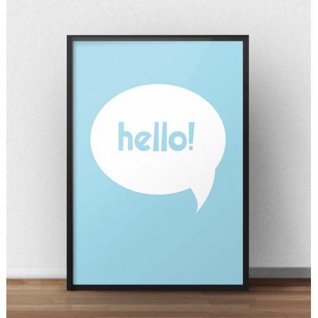"""Darmowy niebieski plakat """"Hello"""""""