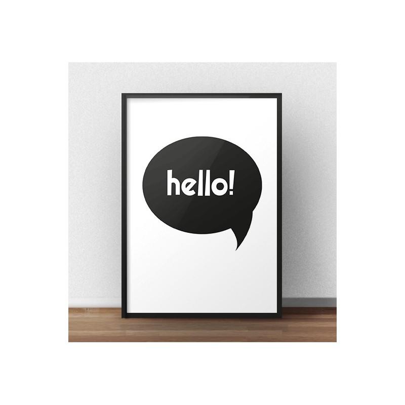 """Darmowy plakat z białym napisem """"Hello"""" w czarnej chmurce"""