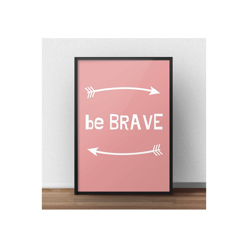 Free poster Be brave in coral color