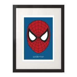 Plakat z głową Spidermana oprawiony w klasyczną ramę w wersji kolorowej