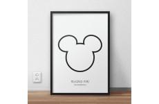 Darmowy plakat przedstawiający kontur Myszki Miki do samodzielnego wydruku