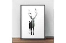 Skandynawski plakat przedstawiający jelenia wypełnionego lasem