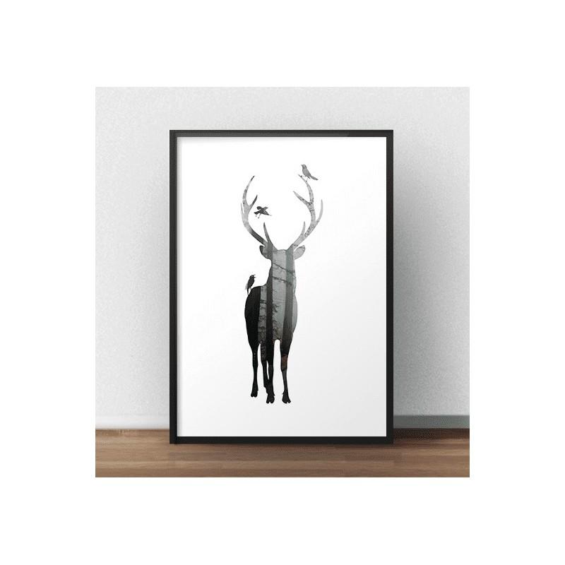 Scandinavian poster Forest Deer