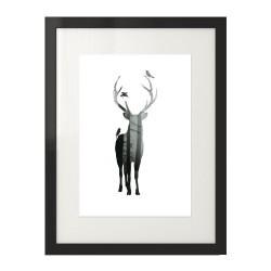 Nowoczesny plakat na ścianę z jeleniem i lasem
