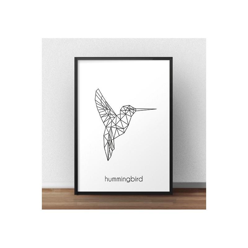 """Plakat z geometrycznym kolibrem """"Hummingbird"""""""