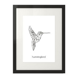 """Grafika na ścianę z geometrycznym ptakiem - kolibrem """"Hummingbird"""""""