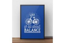 """Granatowy plakat motywacyjny z rowerem """"Life is all about balance"""""""