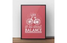 """Plakat motywacyjny na ścianę """"Life is all about balance"""" w kolorze koralowym"""