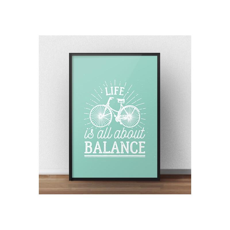 """Kolorowy plakat motywacyjny """"Life is all about balance"""" kolor miętowy"""