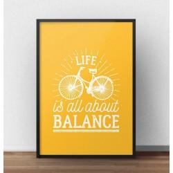 """Jasno pomarańczowa grafika motywacyjna """"Life is all about balance"""""""