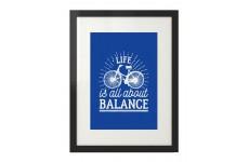 """Kolorowy plakat motywacyjny """"Life is all about balance"""" kolor granatowy"""