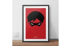 Plakat na ścianę dla chłopca przedstawiający postać Robina - pomocnika Batmana w wersji kolorowej