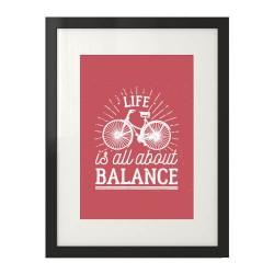 """Koralowy plakat na ścianę  """"Life is all about balance"""""""