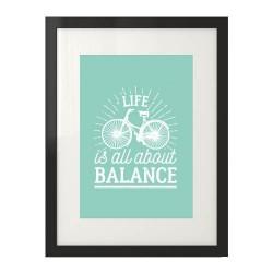 "Plakat w kolorze mięty ""Life is all about balance"""