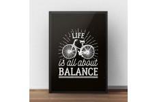 """Klasyczny czarny plakat motywacyjny """"Life is all about balance"""""""