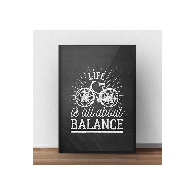 """Plakat motywacyjny """"Life is all about balance"""" o efekcie czarnej tablicy kredowej"""